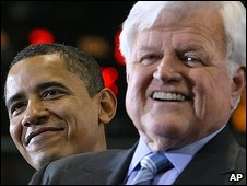 Edward Kennedy (right) with Barack Obama