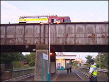 Fire engine on bridge above Prestatyn station