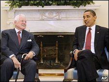 President Barack Obama meets with Senator Edward Kennedy in the Oval Office of the White House in Washington, April 2009