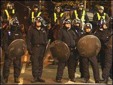 Police at West Ham v Millwall