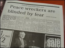Derry Journal report on Ted Kennedy's speech in the city