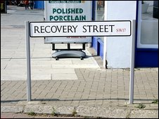 Sign for Recovery Street, Tooting, London