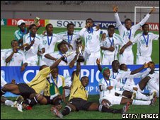 Nigeria's under-17 team celebrate winning the 2007 World Cup