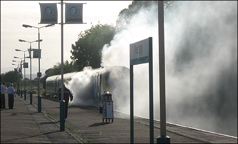 This picture of smoke from the train was taken by passenger Sue Crookes
