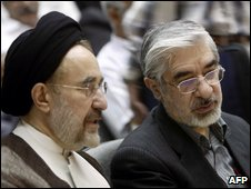 Former President Khatami and losing candidate Mir Hossein Mousavi
