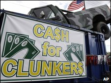US car dealer advitising the 'cash for clunkers' scheme