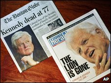 Boston newspaper front pages, 26 August 2009
