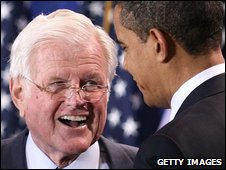 Archive photo of Edward Kennedy and Barack Obama, April 2009