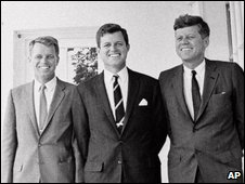Archive photo from 1962 of Robert F Kennedy (l), Edward M Kennedy (c) and John F Kennedy (r)