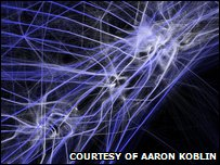 Section of image showing 24 hours of flight paths over the north east of the USA
