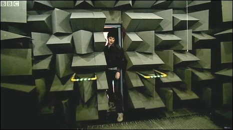 Professor Trevor Cox enters the anechoic chamber