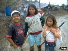 Awa children in village in Colombia