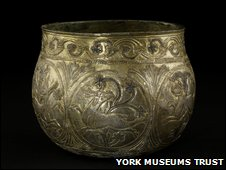 Silver Gilt vessel dating from the 9th Century part of the Vale of York Viking hoard.