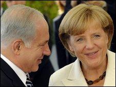 Israeli Prime Minister Benjamin Netanyahu and German Chancellor Angela Merkel in Berlin, 27 August 2009