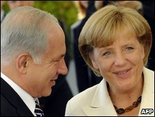Israeli Prime Minister Benjamin Netanyahu and German Chancellor Angela Merkel in Berlin, 27 August 2009