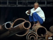 Indian worker in an industrial area of Mumbai