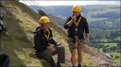 Tv presenter James Wong and tree hunter Rob McBride look out over Llangollen
