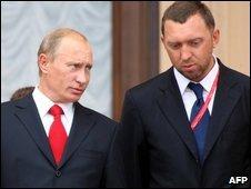 Oleg Deripaska with Prime Minister Putin, Sochi , Sept 2008