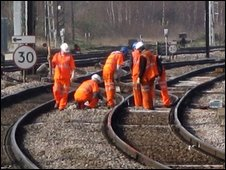 Network Rail maintenace staff on a line outside London