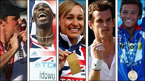 Andrew Strauss, Phillips Idowu, Jessica Ennis, Andy Murray and Tom Daley