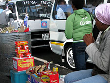 A vendor at Bellville taxi rank