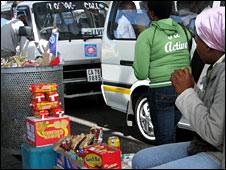 A vendor at Bellville taxi rank