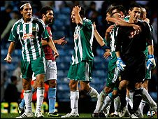 Rapid Vienna players celebrate their famous result