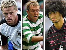 Fulham's Damien Duff, Celtic's Aiden McGeady and Everton's Marouane Fellaini