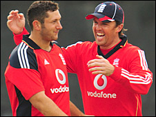 Tim Bresnan and Graeme Swann in action for England against Ireland