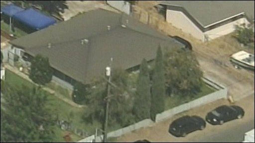"Aerial footage of the house and ""hidden backyard within a backyard"" where police say alleged kidnapper Phillip Garrido and his wife Nancy Garrid kept missing US woman Jaycee Lee Dugard"