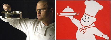 Heston Blumenthal and the Little Chef logo