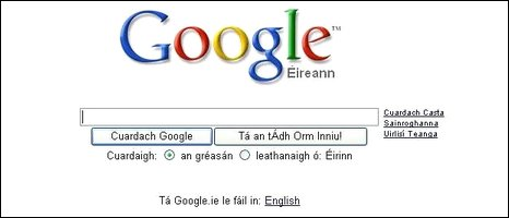 Google's Irish translation service