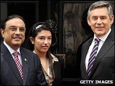 President Zardari, his daughter and Gordon Brown