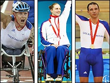 Wheelchair racer David Weir, swimmer Heather Frederiksen and cyclist Darren Kenny