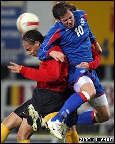 Kjartan Finnbogason (right) in action for Iceland's Under-21s