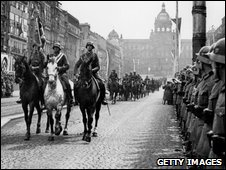 Nazi cavalry parade in Prague in April 1939