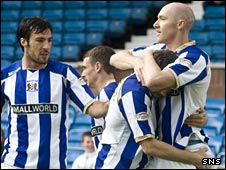 Connon Sammon (right) celebrates his early goal