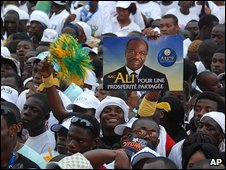 Supporters of Ali Ben Bongo in Libreville, Gabon