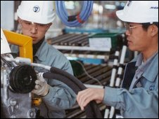 workers at the Jinbei plant in China