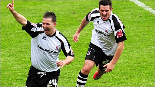 Kevin Gall celebrates his goal for Darlington