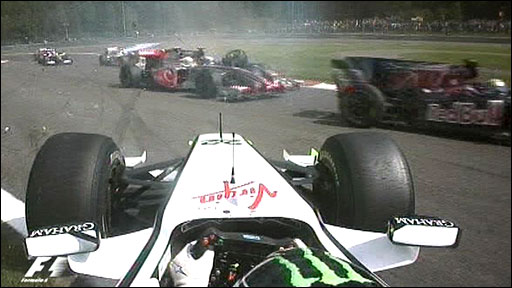 Jenson Button spins