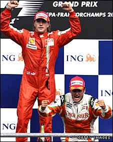Kimi Raikkonen (top) and Giancarlo Fisichella