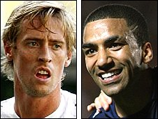 Peter Crouch and Aaron Lennon