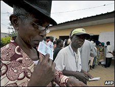 Man waiting to vote
