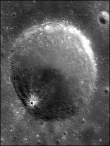 A crater on the moon photographer by Chandrayan-1