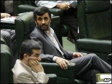 President Mahmoud Ahmadinejad in parliament as MPs debate his cabinet line-up