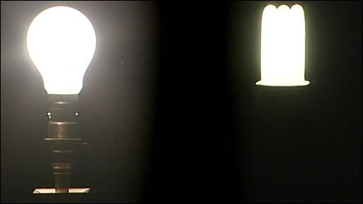 Traditional bulb (left) and energy-saving bulb