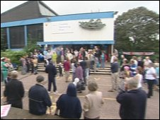 Protestors outside Coseley Swimming Pool