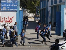 Palestinian schoolchildren outside a UN school in Gaza City, 31 August