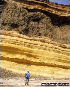 Layers of fossilised rock at Bentiaba, in the southern desert province of Namibe, Angola